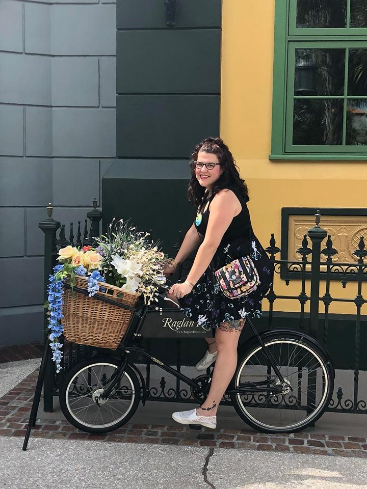 Stacey riding a bike