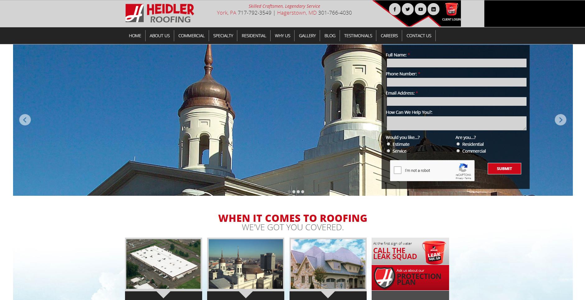 Heidler Roofing Homepage