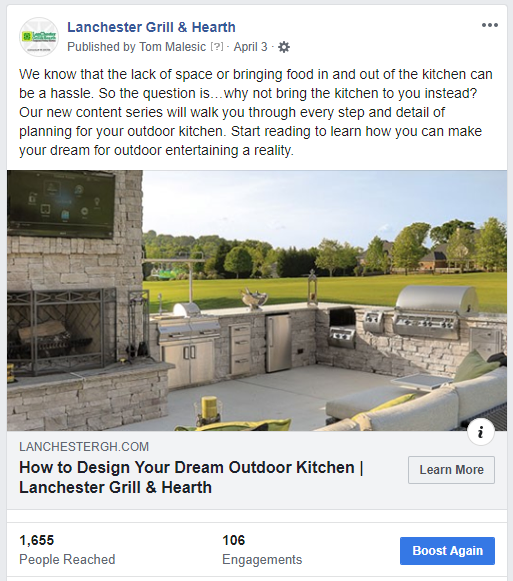 facebook post sample