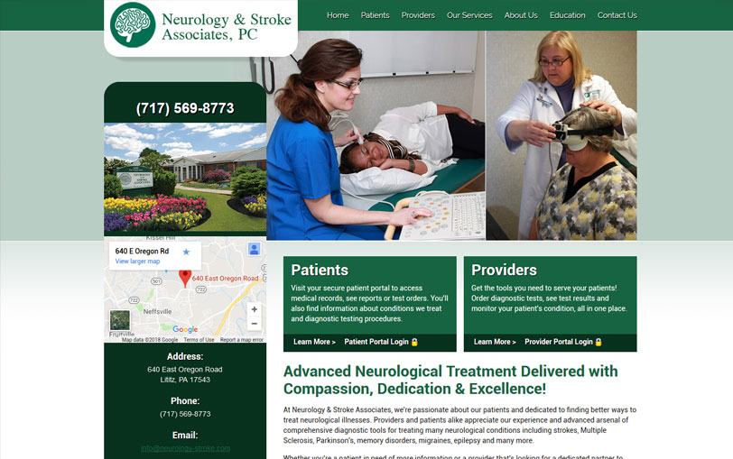 Example of Neurology & Stroke Associates Website Design
