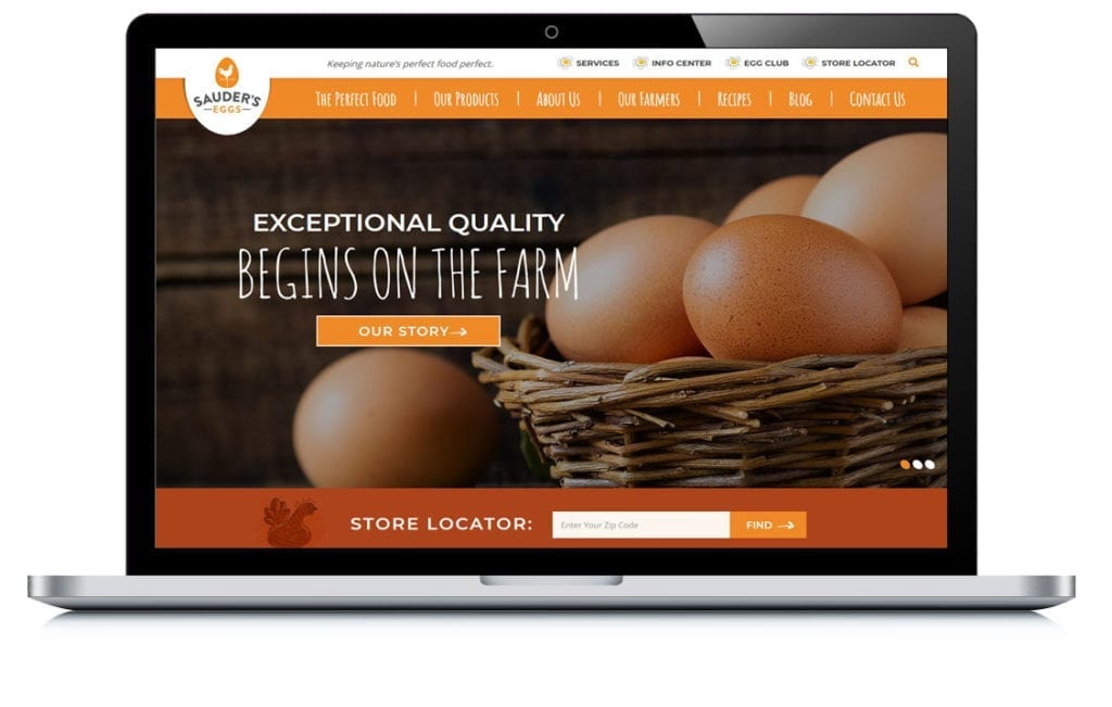 Example of Sauder Eggs Custom Website