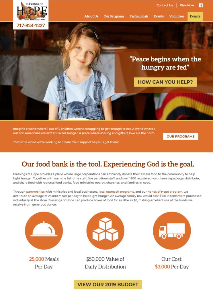 blessings of hope website screenshot