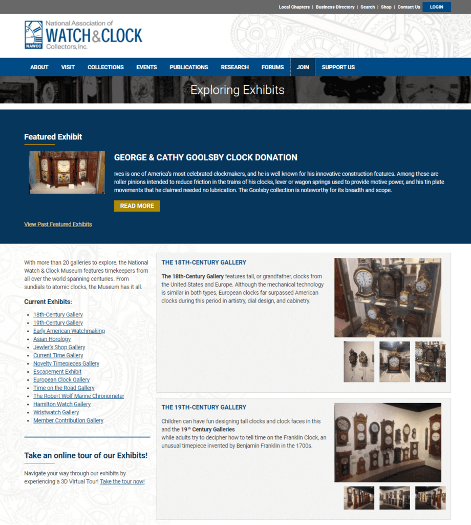 NAWCC website exhibits page screenshot