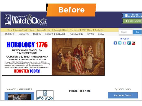 NAWCC website - before